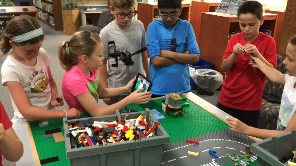 Students working with LEGOs