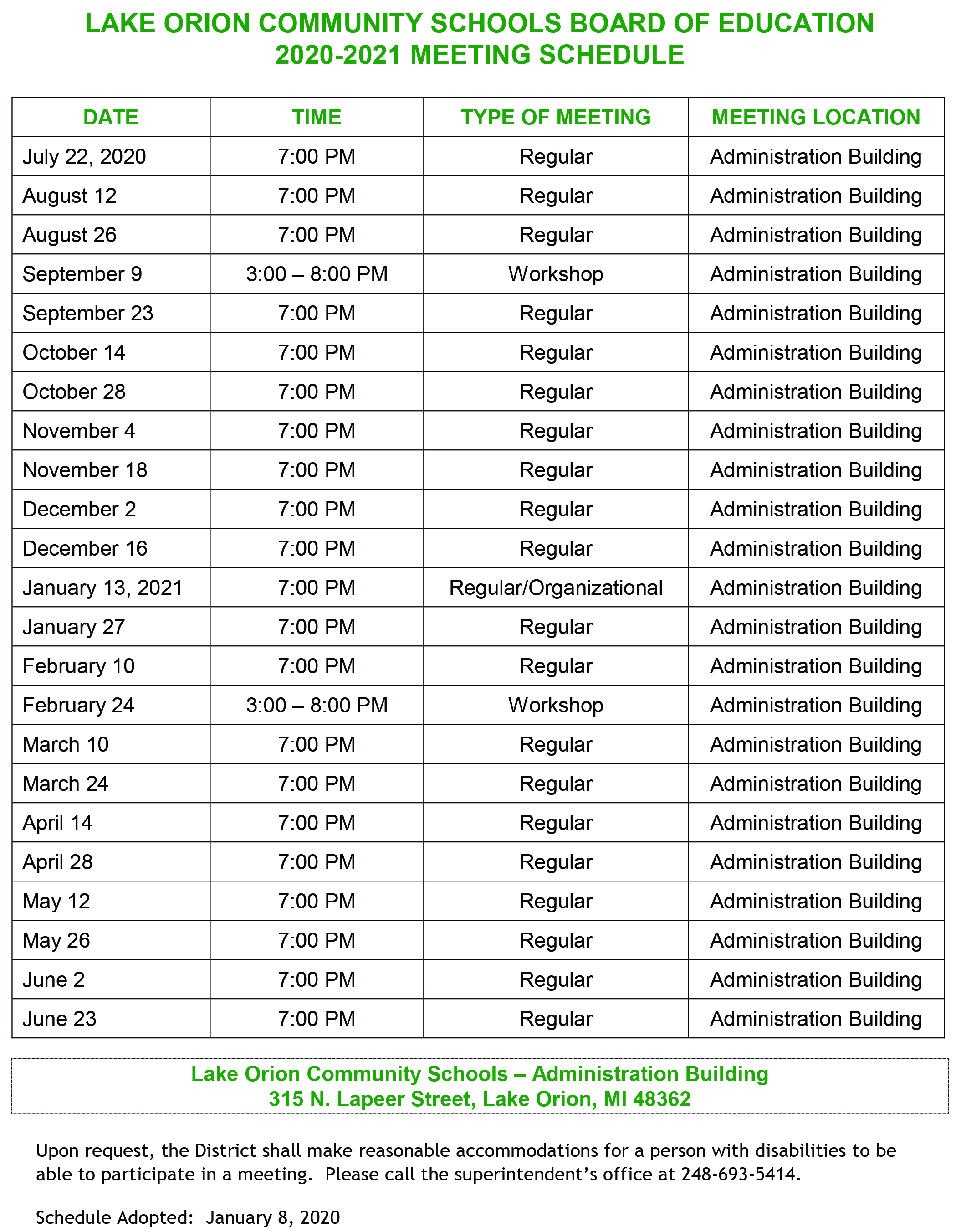 Board of Education Meeting schedule