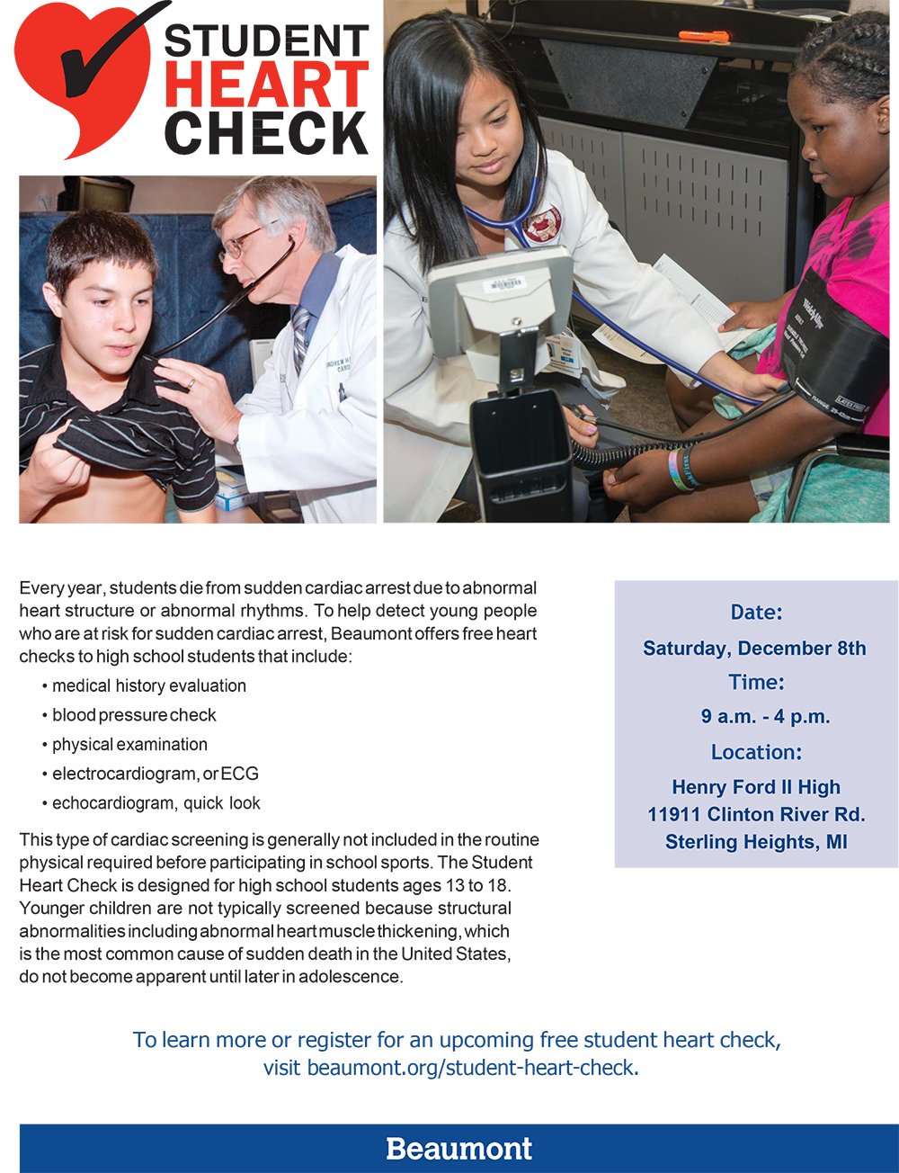 Beaumont Student Heart Check: December 8
