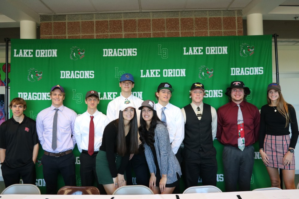 Ten LOHS student athletes sign college letters in spring period