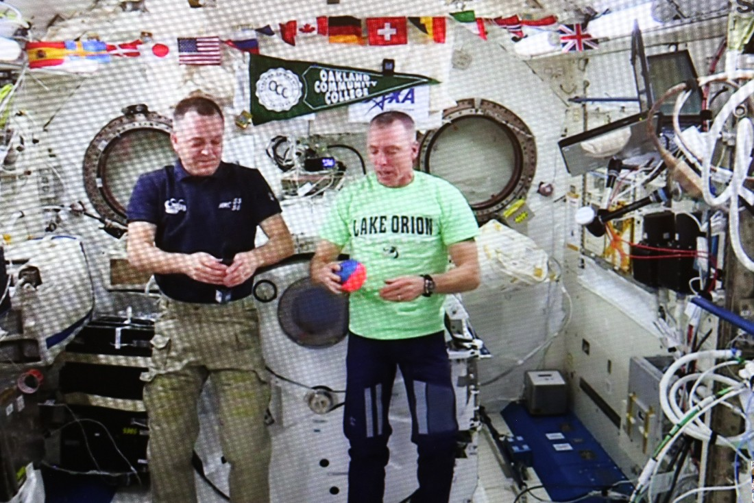 Astronaut Feustel, a LOCS alum, thrills students on downlink from space station