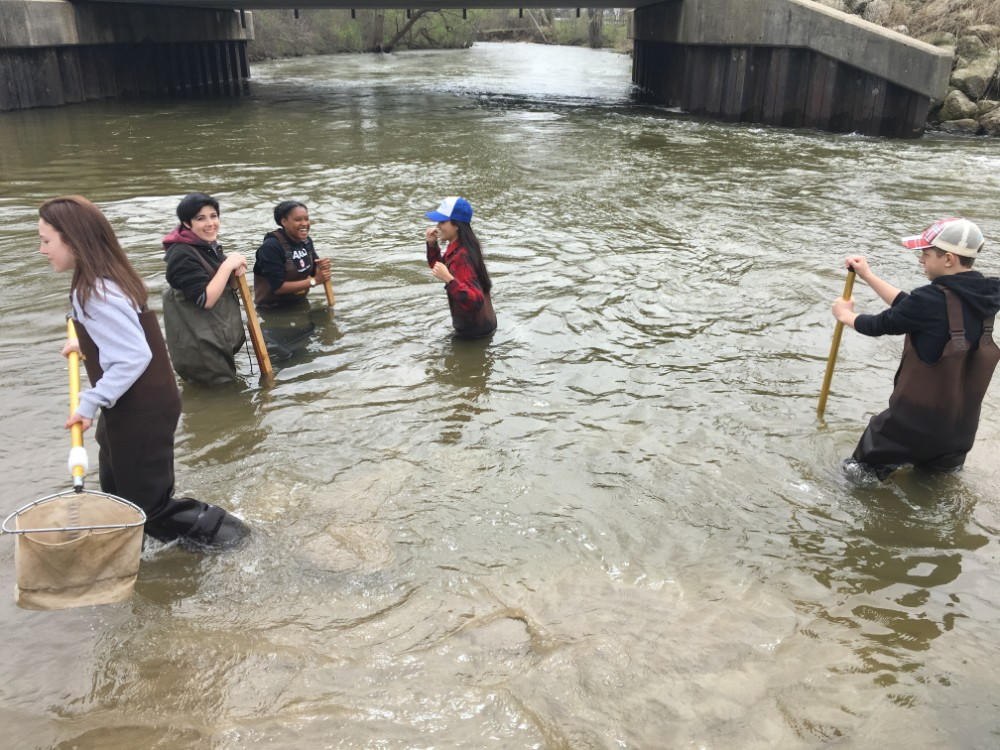 Students monitoring Clinton River