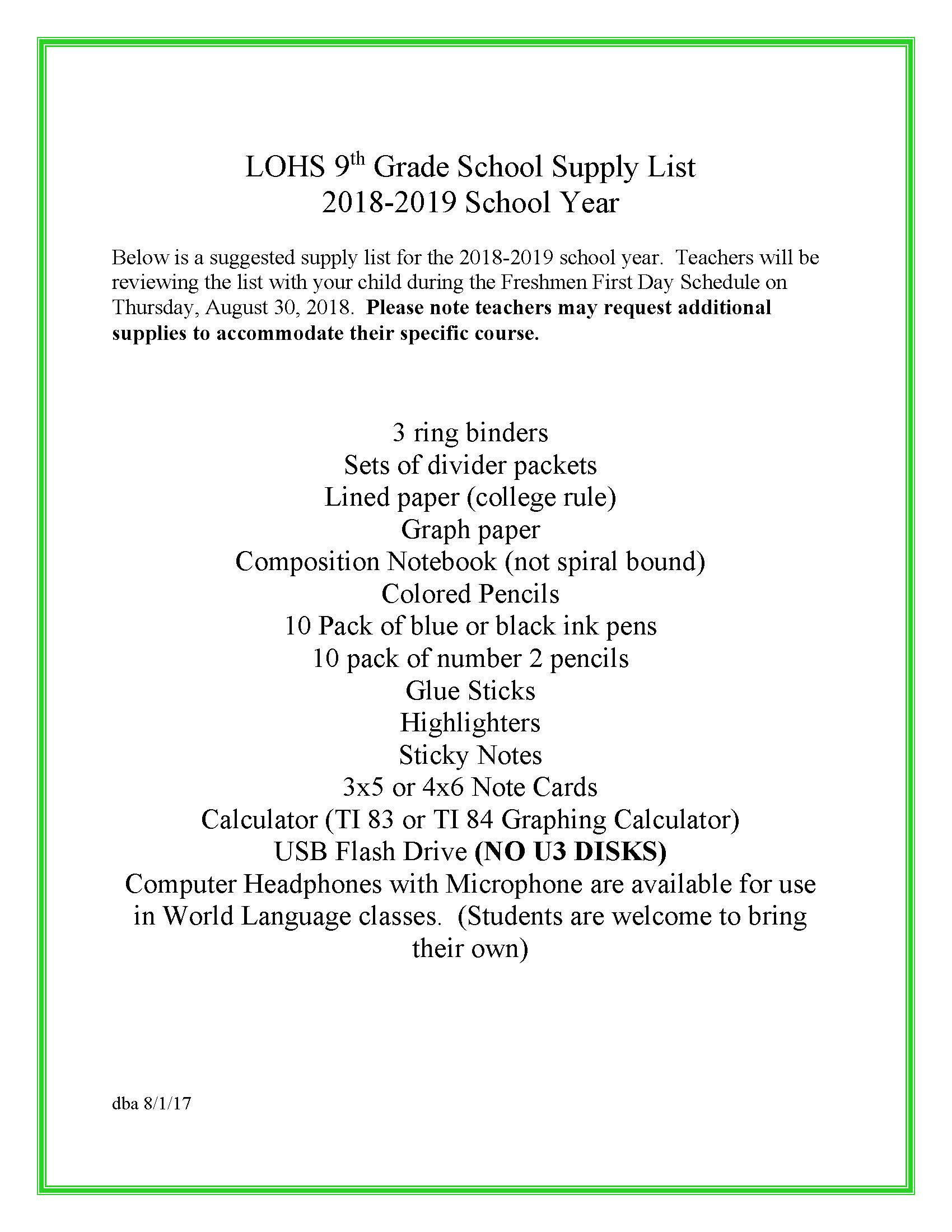 9th Grade Suggested Supply List